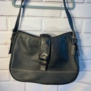 COACH Black Leather Hampton Hobo